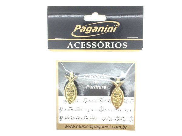 Paganini Prendedor Partitura e Hinário Jesus Dourado PPT074
