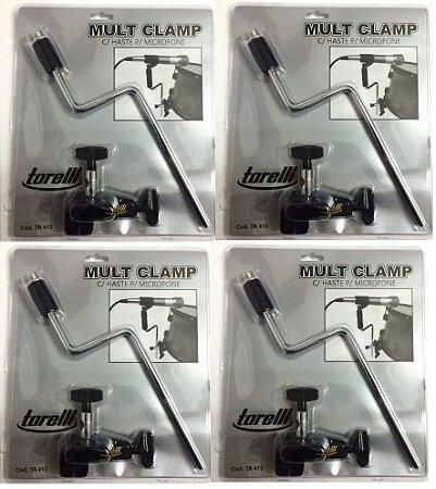 Kit Torelli 4 Mult Clamp Com Haste Para Microfone TA413