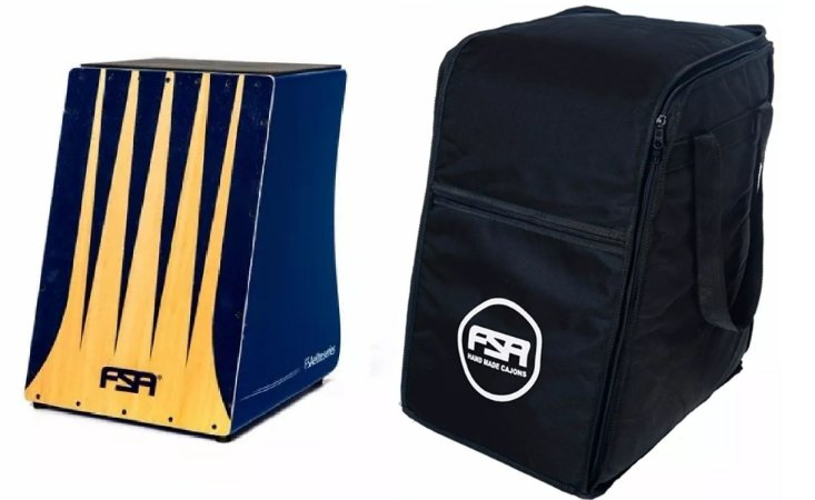 Kit Fsa Cajon Elétrico Elite Azul FE3304 C/ Tampa De 4mm + Bag