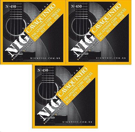 Nig Kit Com 3 Encordoamento P/ Cavaquinho N-450 C/ Bolinhas