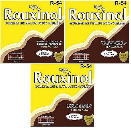Rouxinol Kit Com 3 Encordoamento Violão Nylon T. Alta R-54
