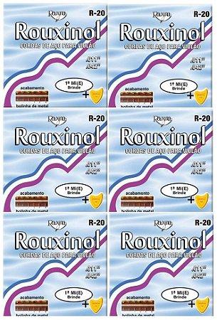 Rouxinol Kit Com 6 Encordoamento Violão Aço Com Bolinha R-20