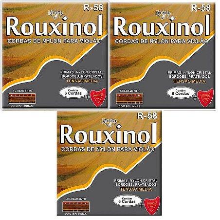 Rouxinol Kit C/ 3 Encordoamento Violão Nylon C/ Bolinha R-58