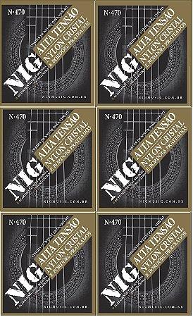 Nig Kit Com 6 Encordoamento Violão Nylon Com Bolinha N-470