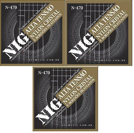 Nig Kit Com 3 Encordoamento Violão Nylon Com Bolinha N-470