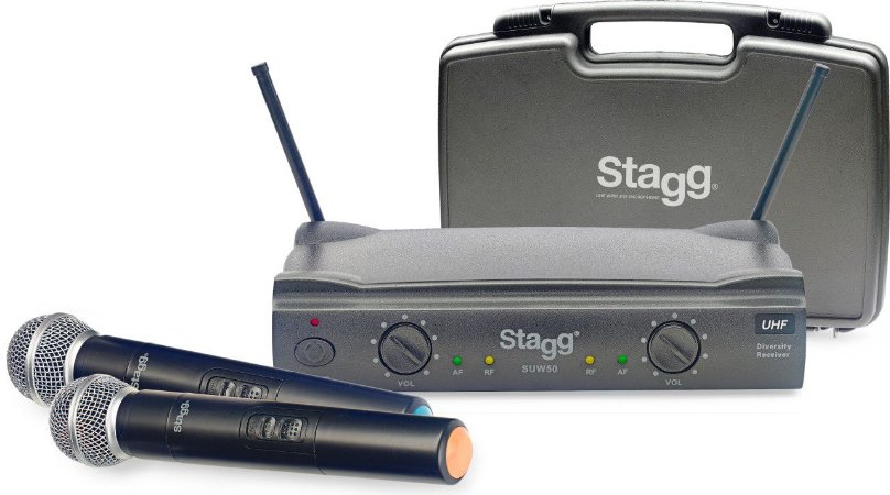 Stagg 2 Microfones sem Fio UHF RX82U