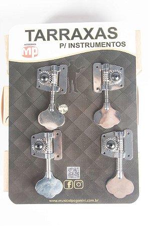 Paganini Tarraxa Para contra Baixo Modelo Jazz Bazz 4 em linha Cromada PTB772
