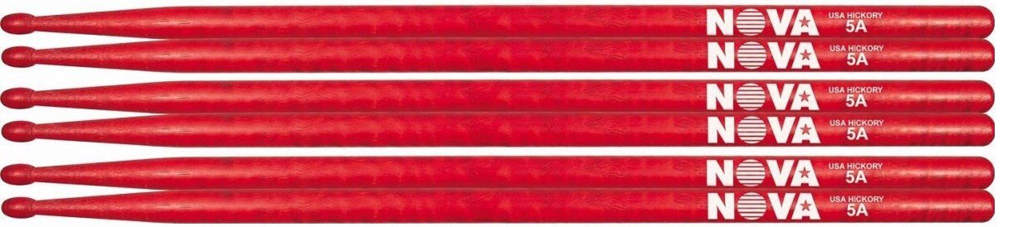 Kit Vic Firth Nova Vermelha 3 Pares de Baquetas 5a Ponta De Madeira 7367