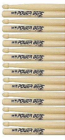 Los Cabos Power Beat Kit 9 Pares De Baquetas 5a Hickory