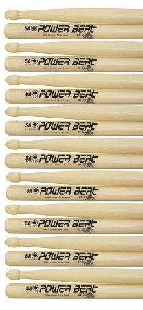 Los Cabos Power Beat Kit 9 Pares De Baquetas 5b Hickory