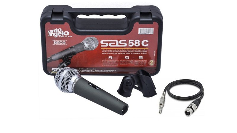 Santo Angelo Microfone Cardioide Com Chave Sas 58c + Cabo