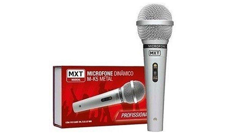 Mx Microfone Dinâmico Metal M-k5 Profissional Prata C/ Cabo