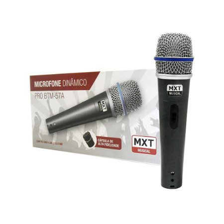 Mx Microfone Dinâmico De Metal Profissional 57a C/ Cabo 4.5m