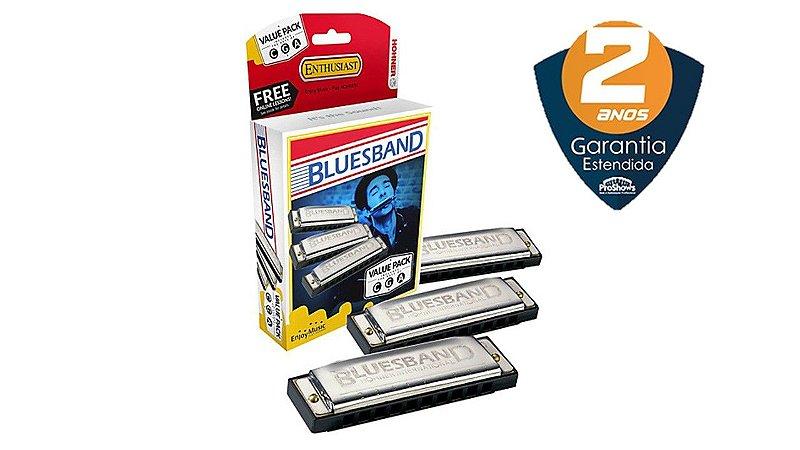 Hohner Gaita Harmônica Blues Band Kit C/ 3 (c) (g) (a) 8780