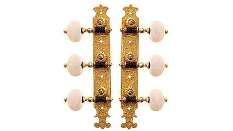 Rozini Tarraxa P/ Violão Náilon 6 Cordas Dourada 18 Dentes
