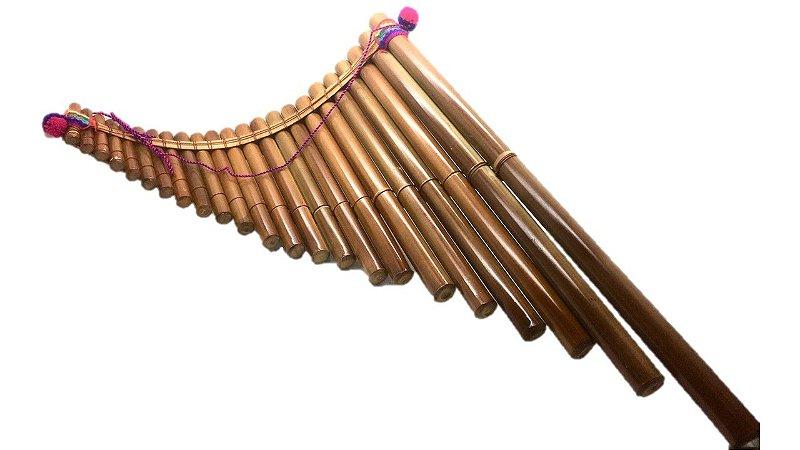 Pr Flauta Sampona Torta Em Bambu 23 Tubos Grande 45x40 Lnsgr