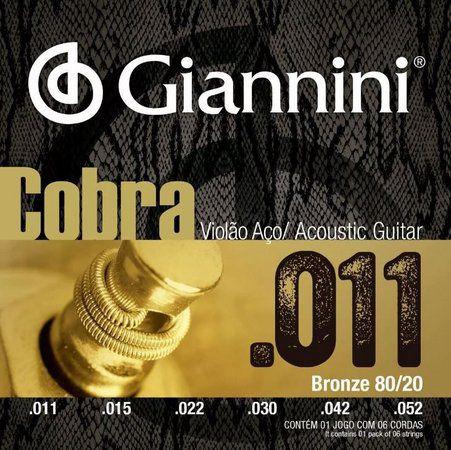 Giannini Cordas p/ Violão Aço Bronze Cobra 80/20 011 CA82SL