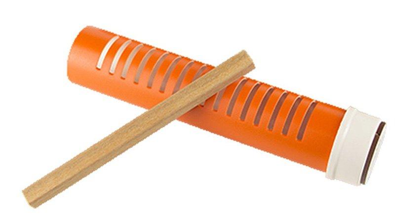 CL Reco Reco Cilíndrico em tubo de PVC 20,5 x 4,5 cm com Baqueta Musicalização Infantil CL1693