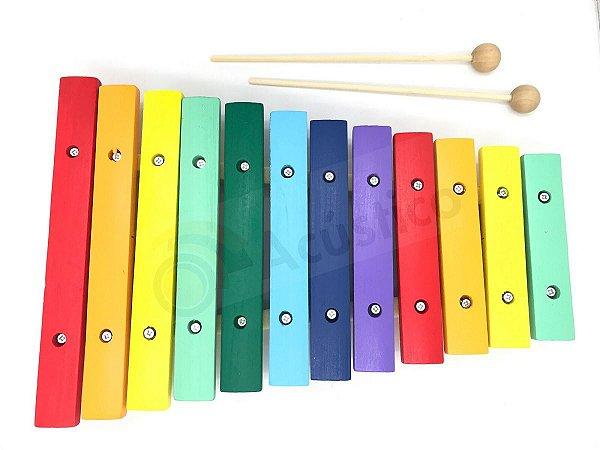 Paganini Xilofone Infantil 12 Notas Colorido 31x21 Cm Pxl812
