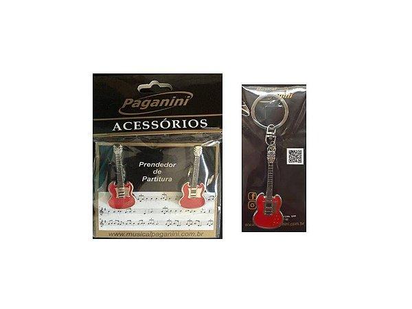 Kit Paganini Prendedor de Partitura + Chaveiro Guitarra - Ktguitarra