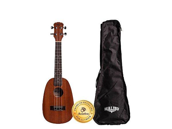 AVS Malibu Ukulele Concert Abacaxi Natural Sapele Acústico c/ Capa 23SP