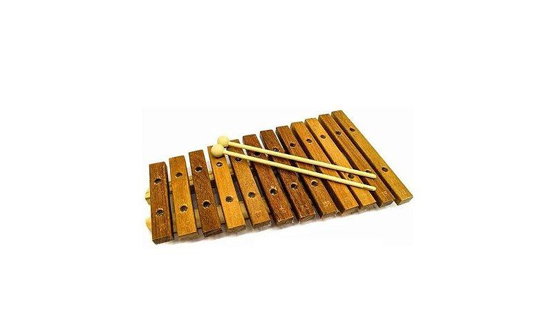 Jogo Xilofone 12 Teclas de madeira natural P2111