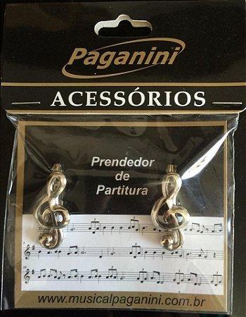 Paganini Prendedor Partitura Clipets Prata PPT075 Clave Sol