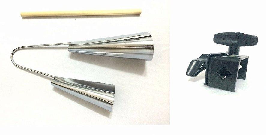 Kt Torelli Agogo Duplo Médio To015 C/ Baqueta + Clamp Ta440
