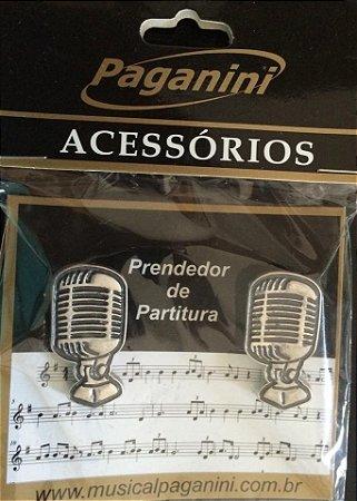 Paganini Prendedor Partitura Clipets Microfone PPT086 Metal
