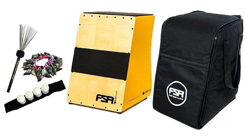 Cajon Fsa Touch FT 7004 Captação Dupla Bag Vassourinha de Aço Canela Shaker e Unha de Cabra
