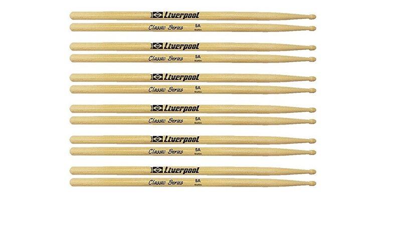 Kit Com 6 Pares De Baquetas Liverpool Classic Series 5a
