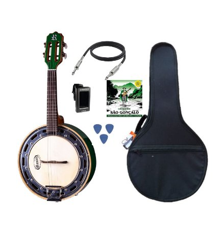 KIT Rozini Banjo Verde Elétrico C/ Capa e Acessórios RJ11ELV