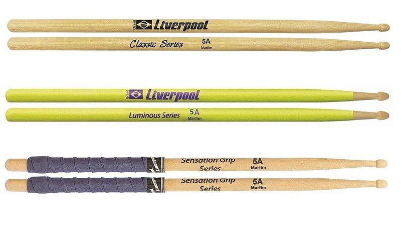 kit com 3 pares de baquetas 5A Liverpool Classic Series Sentation Grip Luminous Series Amarela