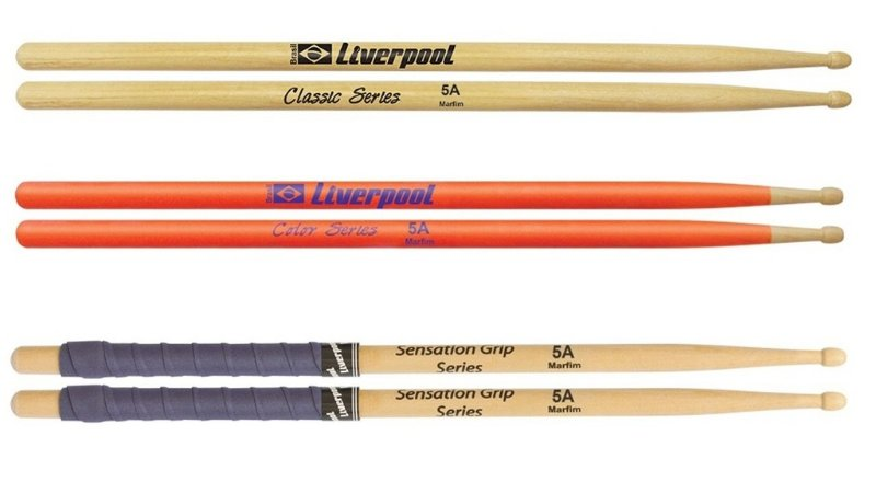 kit com 3 pares de baquetas 5A Liverpool Classic Series Sentation Grip Luminous Series Laranja