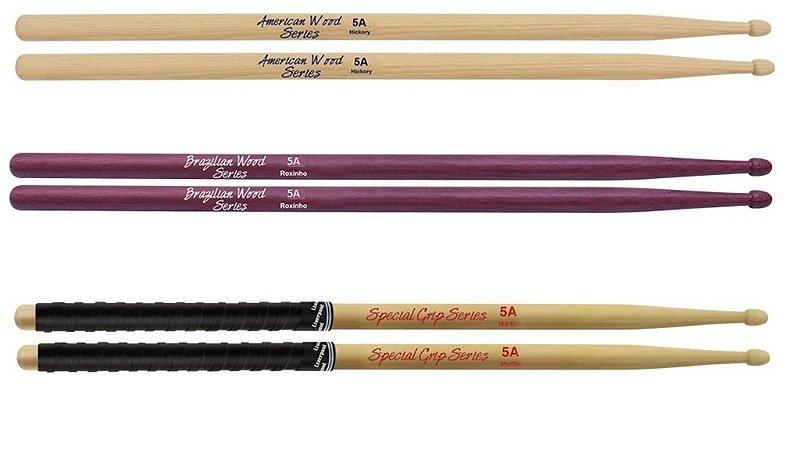 kit com 3 pares de baquetas 5A Liverpool American Wood Hickory Brasilian Wood Roxinho Special Series