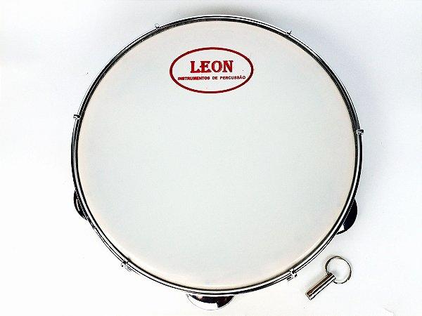 """Leon Pandeiro 10"""" Pele de Nylon Madeira Maciça Pinho DLP07"""