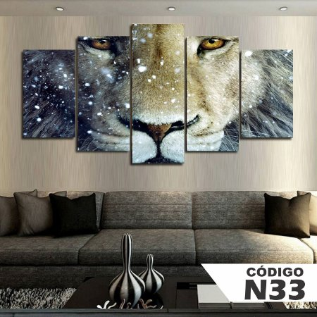 Quadros decorativos leão neve