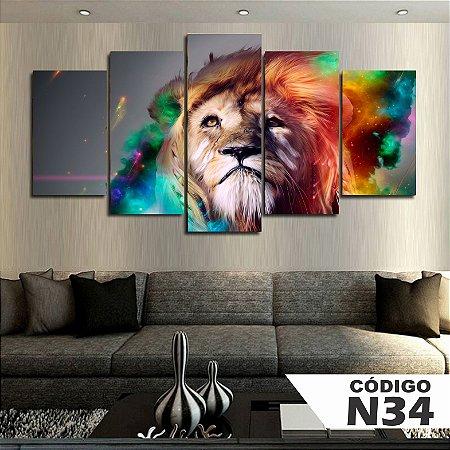 Quadros decorativos leão aquarela
