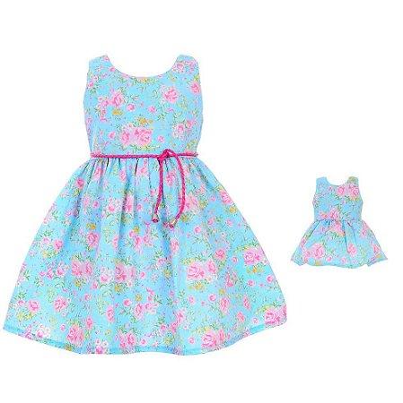 3165ef6eb9 Vestido Petit Floral Rosas Infantil e Boneca (o kit) - Petit Petit