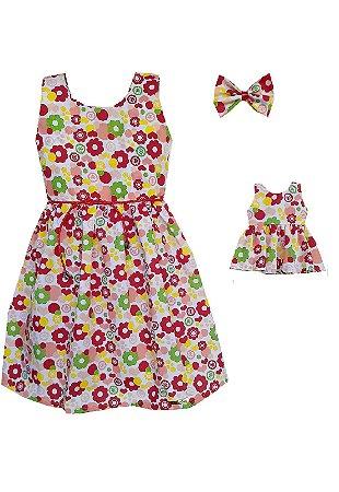 Kit Vestido Infantil e Boneca Petit Primavera