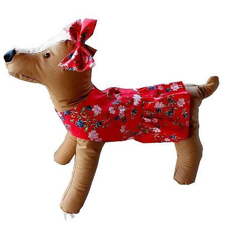 Vestido PET Vermelho Flores