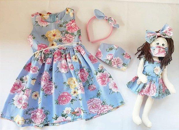 Kit Completo Vestido Infantil e Boneca de pano Petit Rosas