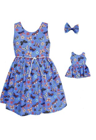 Kit Vestido Infantil e Boneca Petit Borboletas Lilás