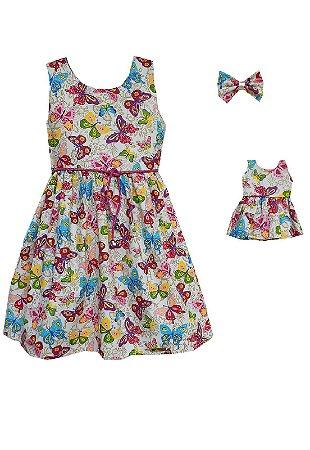 Kit Vestido Infantil e Boneca Petit Jardim Encantado