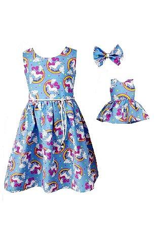 Kit Vestido Infantil e Boneca Petit Unicórnio Azul