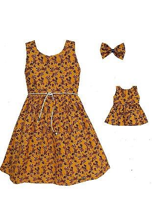 Kit Vestido Infantil e Boneca Petit Amarelo Flores
