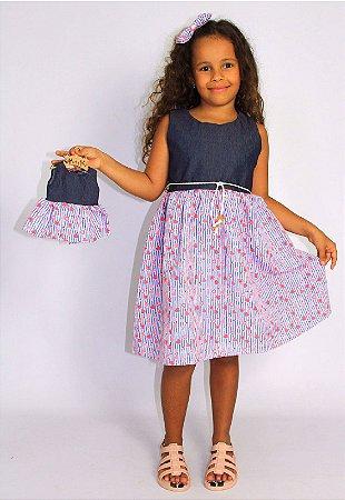 Kit Vestido Infantil e Boneca Petit Composê Listras