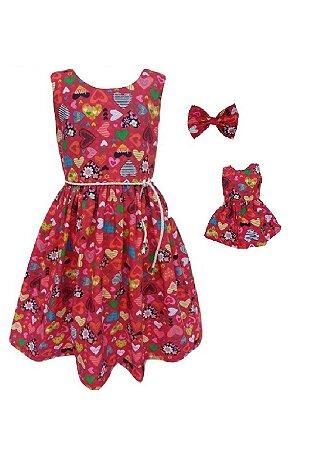 Kit Vestido Infantil e Boneca Petit Corações Vermelhos