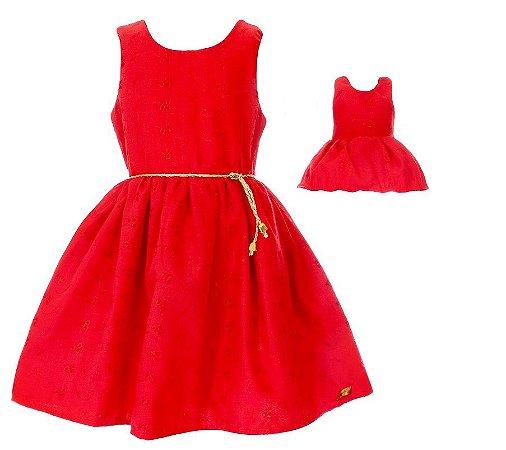 Kit Vestido Infantil e Boneca Petit Lese Vermelho