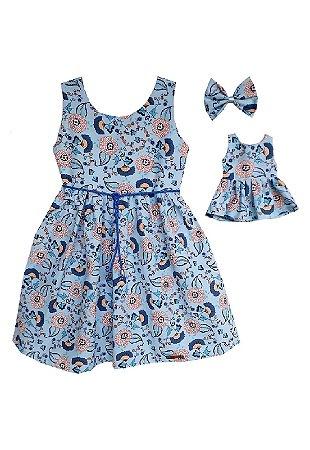 Kit Vestido Infantil e Boneca Petit Camélias Azul